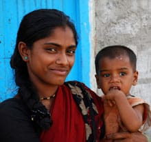 Indian woman and her baby
